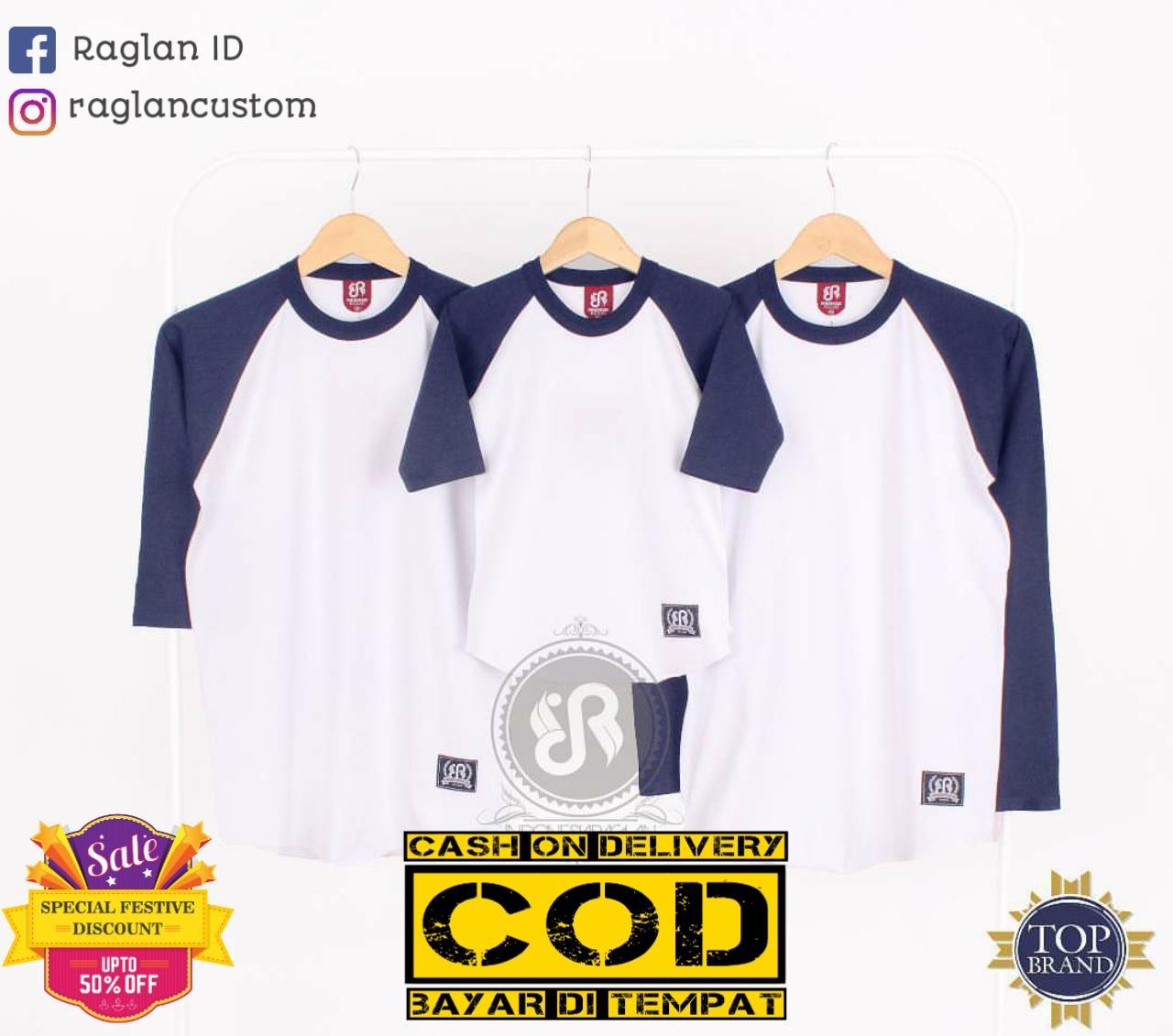 [COD] Kaos Raglan IDR Putih Dongker Combed 30s Kualitas Premium Basic Dewasa 3/4 atau Panjang dan basic Anak