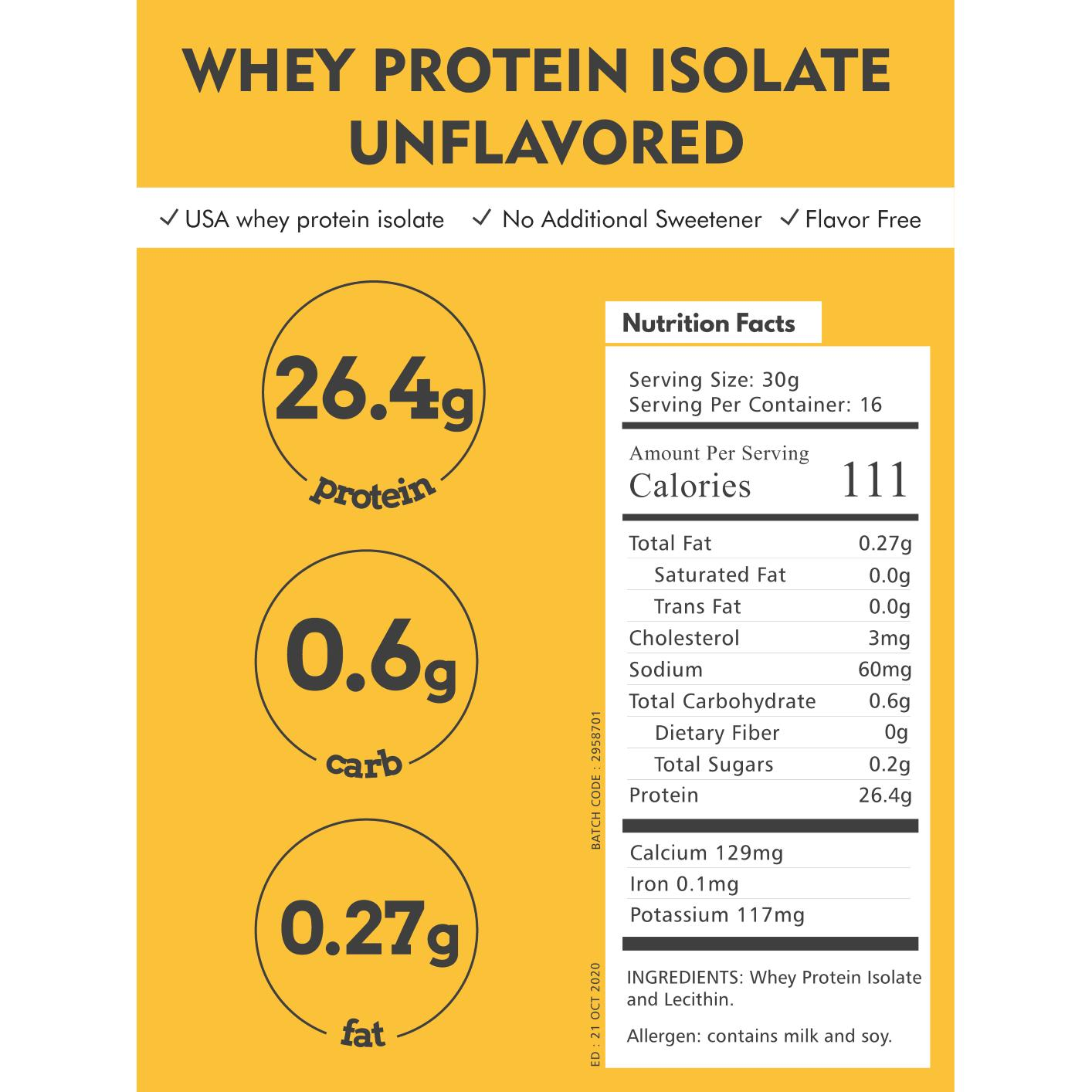 Usa Susu Protein Whey Protein Isolate Wpi 90 Wpi90 500 Gram By Gibox.