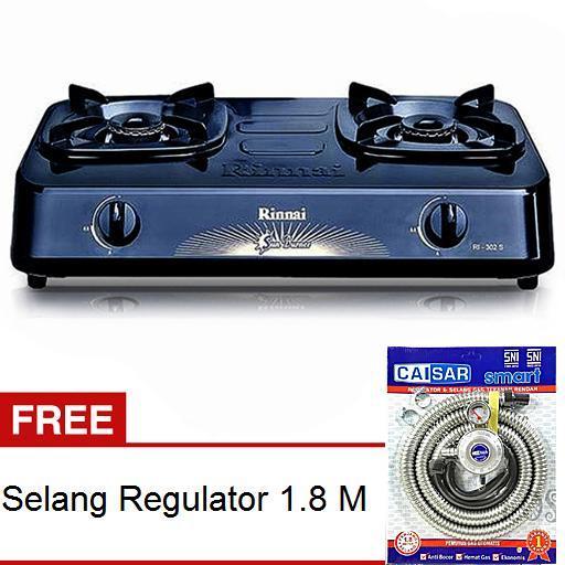 Rinnai RI-302S Kompor Gas 2 Tungku + Selang Paket Regulator Caisar