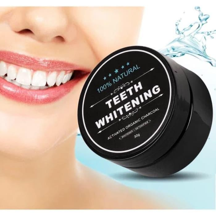 Tigaduasatu Pemutih Gigi Alami Teeth Whitening Charcoal Powder 30gr By Tigaduasatu.