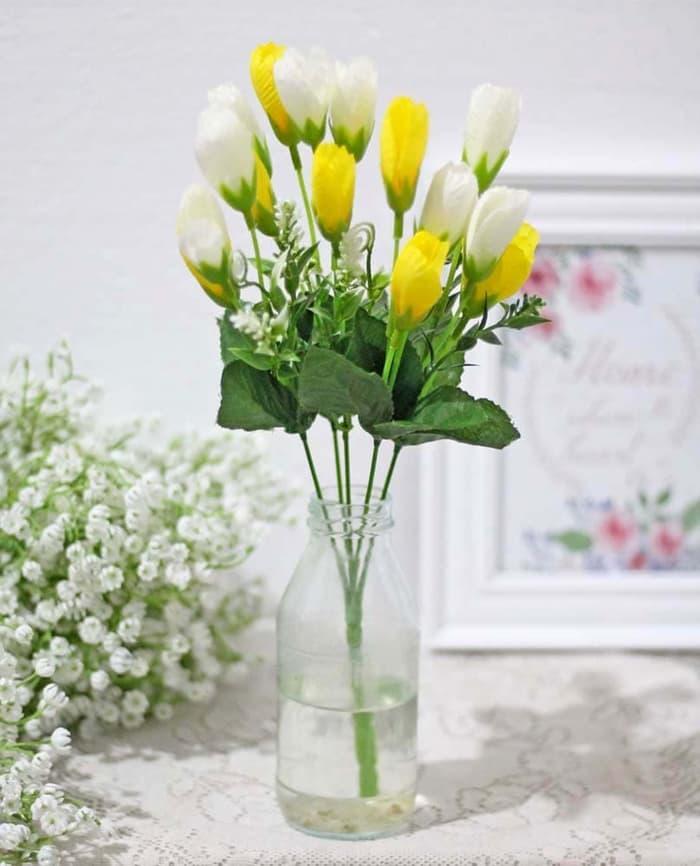 TERLARIS bunga plastik artificial artifisial hias tulip shabby chic 5 -  ZkykFcVb 2ebde24194