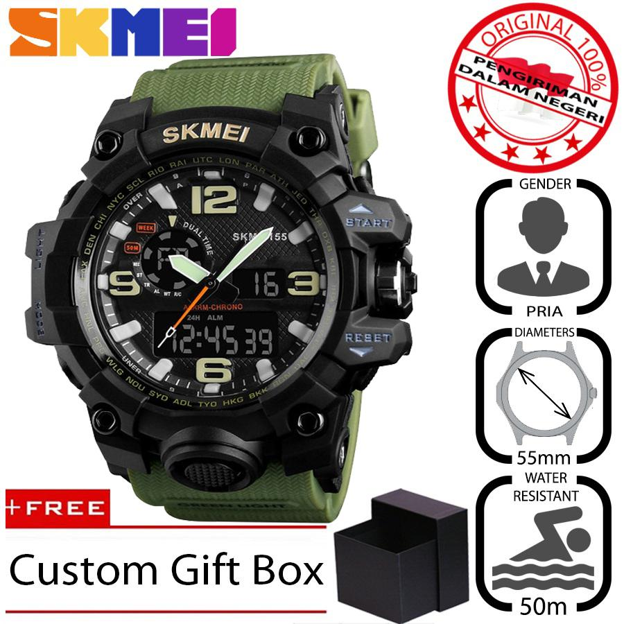 SKMEI 1155 Jam Tangan Pria Sport Analog - Digital Silikon PU 55 mm - Anti Air