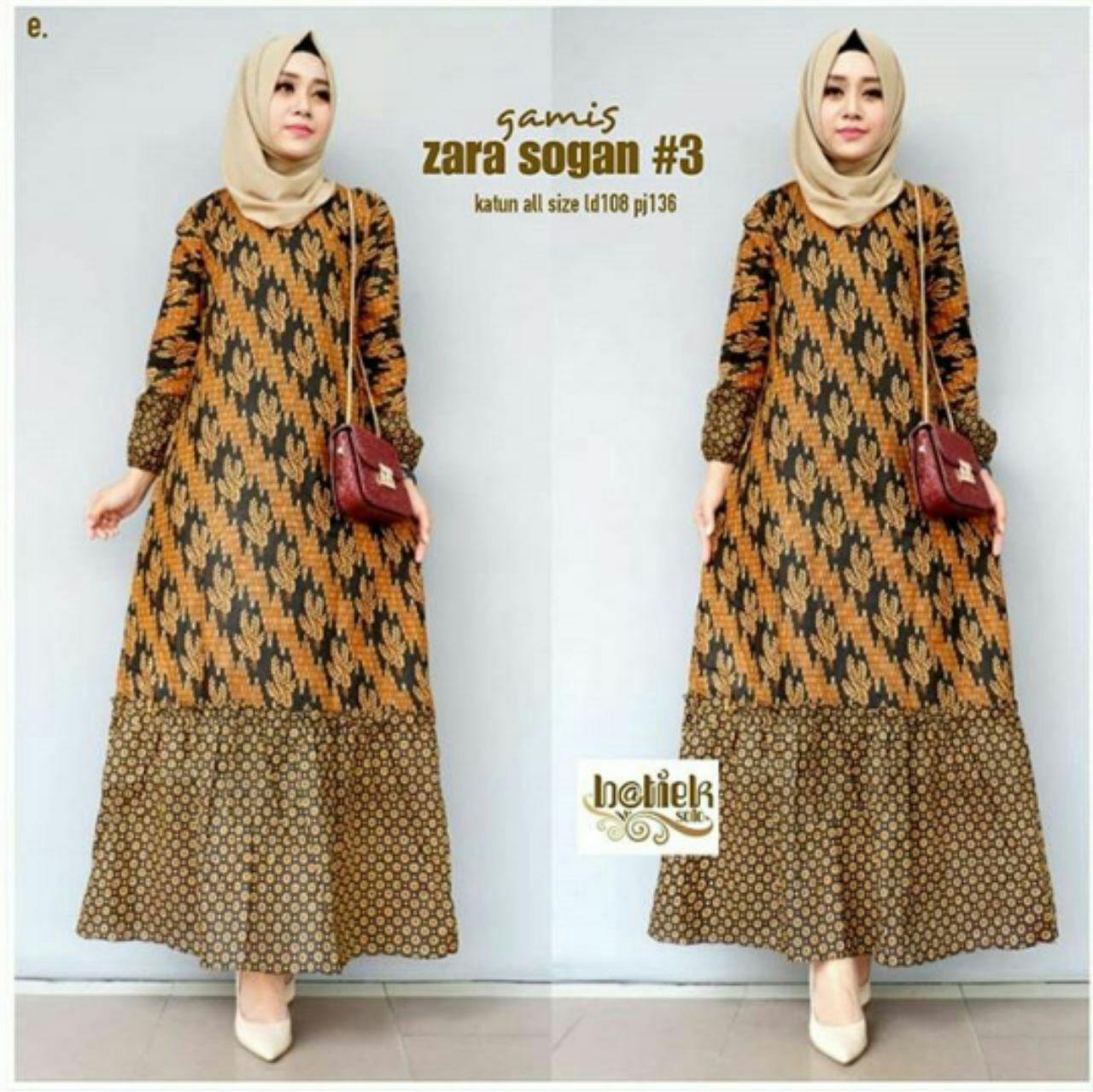 Gamis Batik Kombinasi Dress Batik Baju Muslim Wanita Gamis Syari Bawah Klok Katun Halus Lazada Indonesia