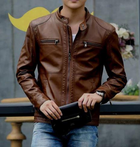 jaket casual style kulit sintetis