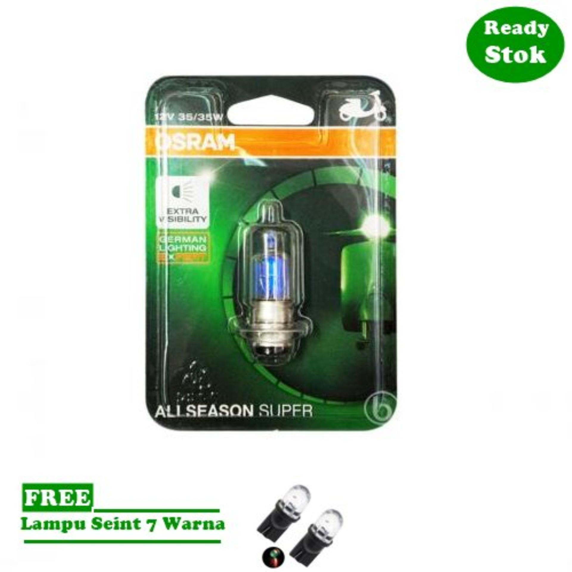 Osram Lampu Depan Motor Yamaha Jupiter Z Fi 2012-on - 62337ALS - All Season Super + Free Lampu Sein LED 7 Warna