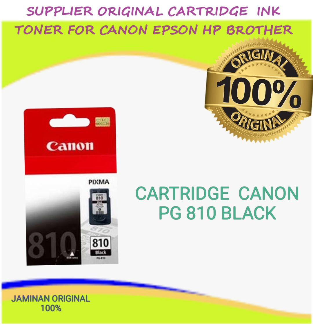 TINTA CARTRIDGE ORIGINAL CANON PG 810 PG810 BLACK BLK HITAM FOR USE PRINTER IP2770 MP237 MP258 MP287 MX366 DLL