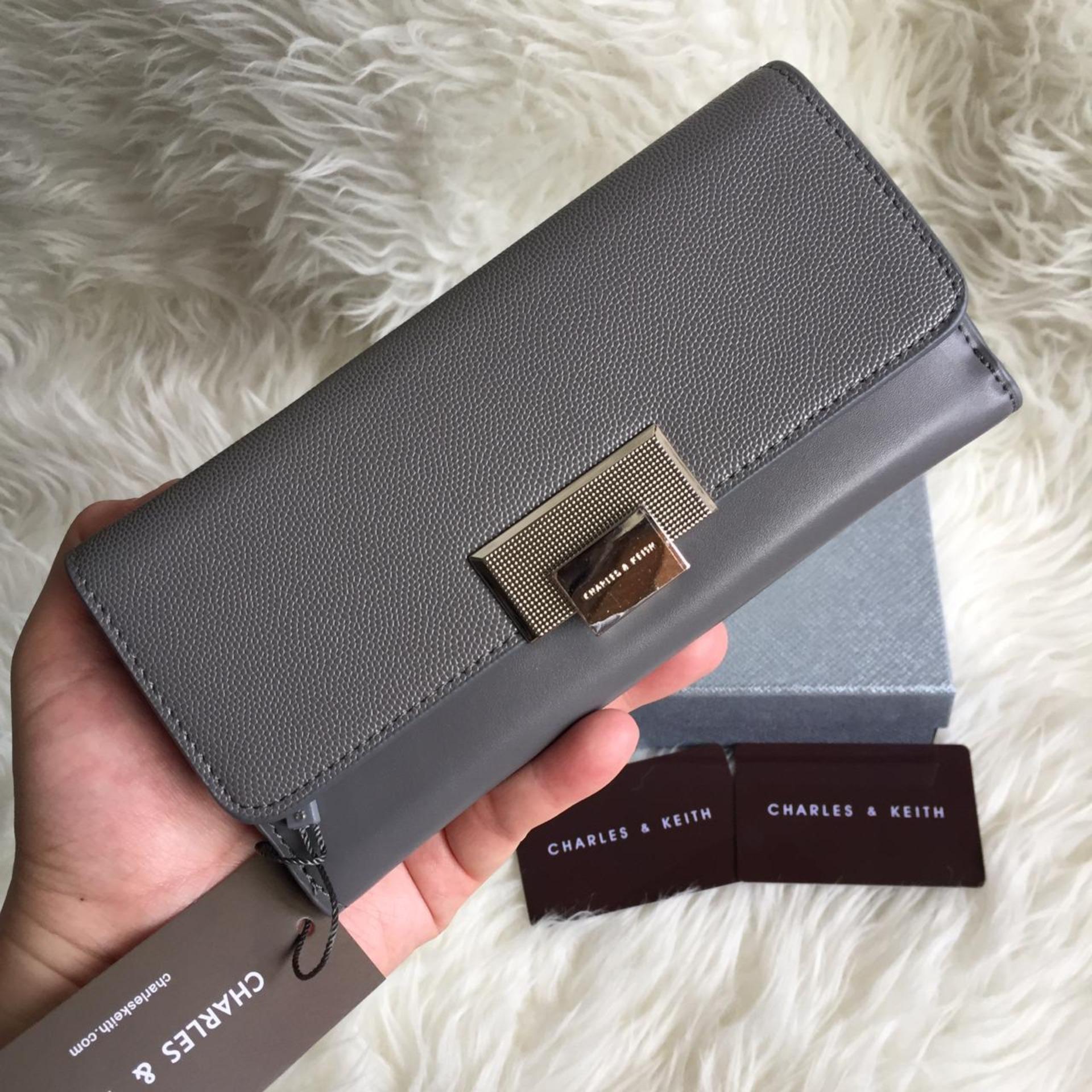 Dompet wanita CHARLES&KEITH ORIGINAL (BLACK/GREY)