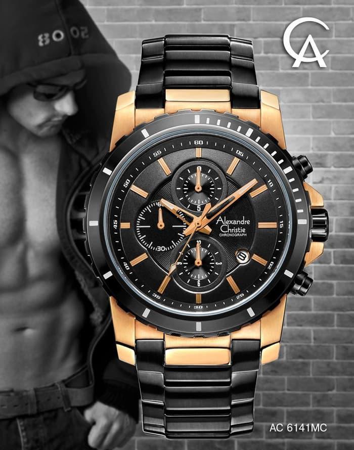 Jam Tangan Pria Cowok Man Casual Formal Sport Ac Alexandre Christie 6141 Original Garansi 1 tahun Black Rose Gold