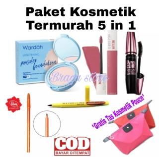 Paket Kosmetik Wanita Lengkap Murah 1 Paket Paket Bedak Wardah 5 in 1 - Bedak - Maskara - Eyeliner - Lipcream - Pensil Alis - Gratis Tas Kosmetik Pouch thumbnail