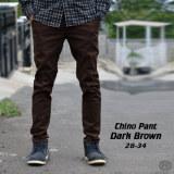 Beli Celana Chino Panjang Pria Cokelat Tua Coklat Dark Brown Impresif Katun Cicilan