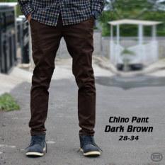 Harga Celana Chino Panjang Pria Cokelat Tua Coklat Dark Brown Impresif Katun Termahal