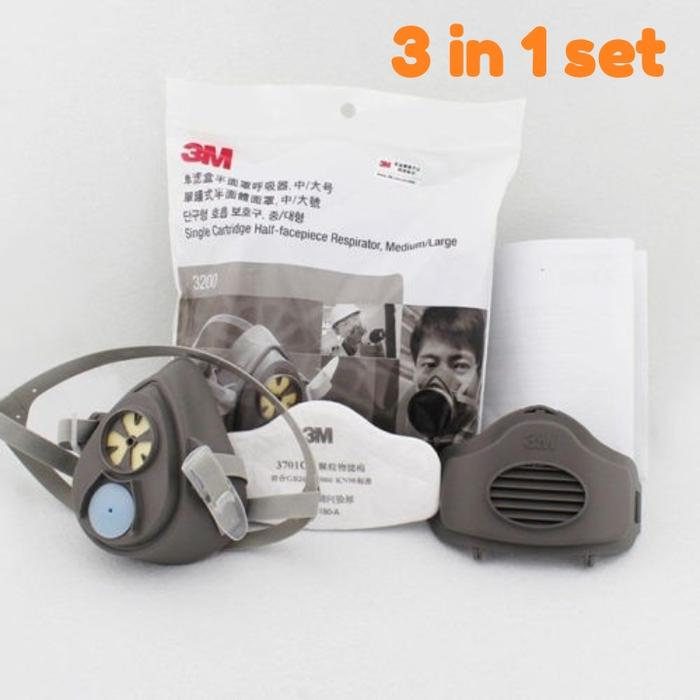 Toolkit - Masker Gas Mask Respirator 3M 3200 Komplit 3 in 1 Set - ready stock