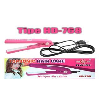 Haidi Catok Pelurus Pengeriting Rambut Mini Curly Hair Wanita Catokan Portable Kecil Praktis Ringan 110-220V - Pink thumbnail