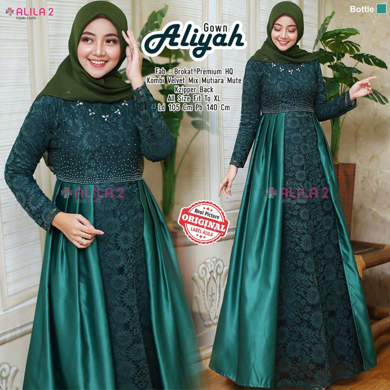 Aliyah Gown Broklat Premium HQ Kombi Velvet Mix Mutiara Mutek |Model Baju Gamis Terbaru 2020 Wanita Berhijab| Gamis Renata|   Baju Gamis Modern Anak Muda| Baju Kebaya Modern Untuk Pesta|  Desain Baju Muslim Modern| Baju Couple Muslim Remaja