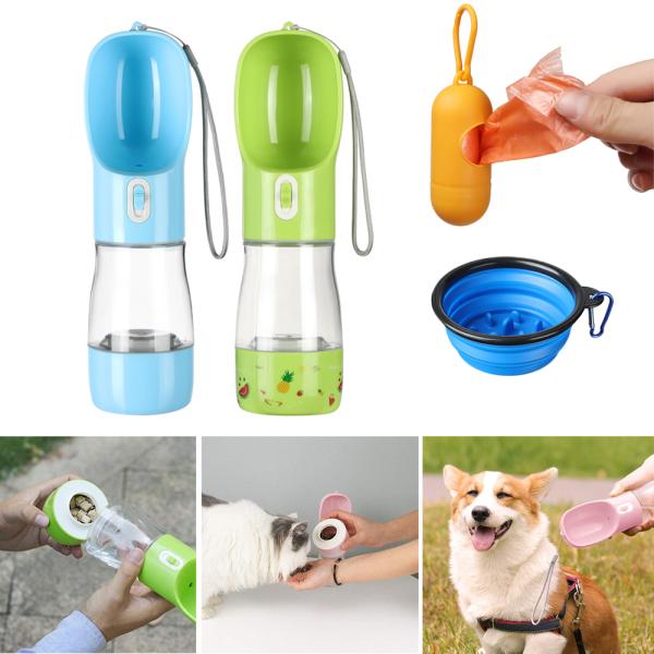 INMERA 2 trong1 Ngoài trời Cat Slow Feeder Bowl Cầm tay Chai nước uống cho thú cưng Thùng lưu trữ Bình nước cho chó Máy rút thức ăn cho chó con