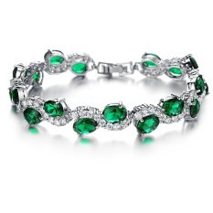 Charm Bracelet Wanita Emas Putih Mewah Gelang Bangles Fashion Green Crystal Perhiasan Hari Valentine GIF