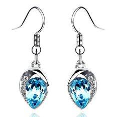 Murah Wanita Kristal Anting-Anting Panjang Klasik Berlapis Emas Putih Berlian Imitasi Pesona Air Drop Anting Brinco Fashion Perhiasan