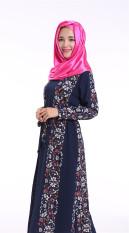 Chiffon Muslim Abaya Gaun Panjang Double Layer Baju Kurung (Navy)-Intl