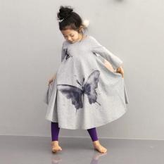Jual Pakaian Anak Perempuan Beach Dress Cotton Butterfly Cetak Panjang Desain T Shirt Full Flared Rok Abu Abu Intl Branded Original