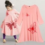 Harga Pakaian Anak Perempuan Beach Dress Cotton Butterfly Cetak Panjang Desain T Shirt Full Flared Skirt Pink Intl Origin