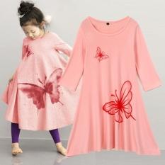 Jual Pakaian Anak Perempuan Beach Dress Cotton Butterfly Cetak Panjang Desain T Shirt Full Flared Skirt Pink Intl Oem Asli