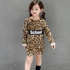 Harga Anak Gadis Leopard Dress Fashion Putri Gaun Slim Huruf Cetak Pola T Shirt Panjang Bottoming Tops