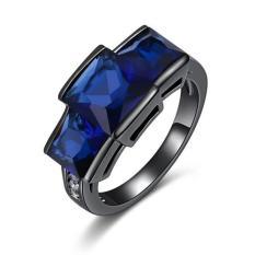 Cincin Import Blue Sapphire 10Kt Black Gold Filled Mans Ring Size 7 Di Indonesia