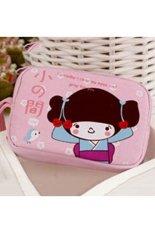 Toko Cocotina Gadis Kartun Cetak Dual Zipper Penyimpanan Tas Tas Kanvas Coin Purse Dompet Kantong Tangan Pink Termurah