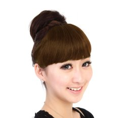 Spesifikasi Cocotina Elegan Wanita Lady Straight Bangs Rapi Fringe Hairpiece Klip Di Ekstensi Rambut Coklat Muda Yg Baik