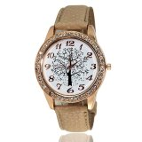 Promo Cocotina Fashion Sepatu Perempuan Berlian Imitasi Pola Pohon Round Dial Pu Leather Band Kasual Quartz Wrist Watch Beige Hong Kong Sar Tiongkok