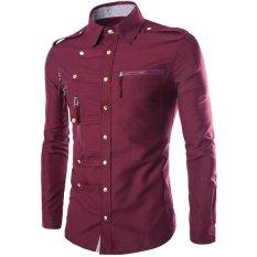 Toko Jual Cocotina Pria Fashion Mewah Solid Slim Fit Casual Formal Shirt Kasual Kerah Lengan Panjang Atasan Merah Anggur