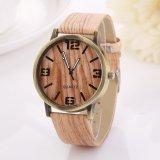 Promo Cocotina Womens Vintage Wood Grain Wristwatch Unisex Fashion Quartz Watch Vertical Stripes Akhir Tahun