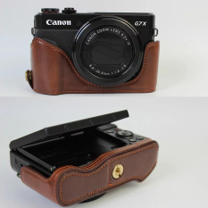 Kopi Baru PU Kulit Setengah Set Cover Case untuk Canon PowerShot G7X Mark 2 G7X II G7X2 Hard Tas Kamera Setengah Body Case (Intl)