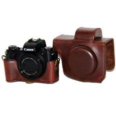 Beli Kopi Pu Leather Camera Case Bag Cover Untuk Canon G5X Dengan Strap Oem Murah