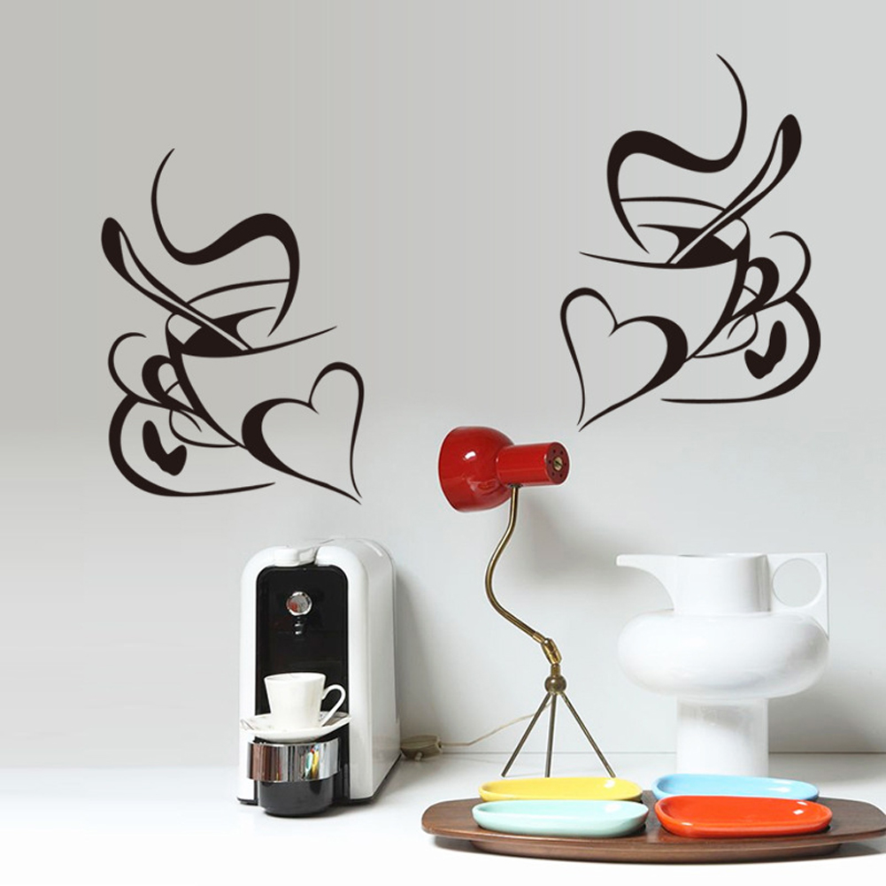 Kopi Cangkir Mug Bentuk Hati Wall Decal Sticker Rumah PVC Mural Vinyl Kertas Rumah Dekorasi Wallpaper Ruang Tamu Kamar Tidur Dapur Gambar Seni DIY untuk Anak Remaja Remaja Dewasa Pembibitan Bayi-Intl