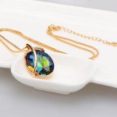 Warna Liontin Kristal Di Wanita Benar-benar 18 K Berlapis Emas Perhiasan Modis Mewah Hadiah Perhiasan Fashion