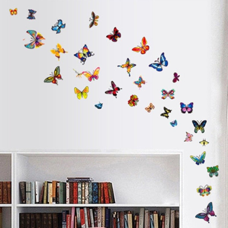Colorful Butterflies Wall Decal PVC Rumah Sticker Rumah Vinyl Dekorasi Kertas WallPaper Ruang Tamu Kamar Tidur Dapur Art Picture DIY Murals Girls Boys Kids Nursery Baby Playroom Decor