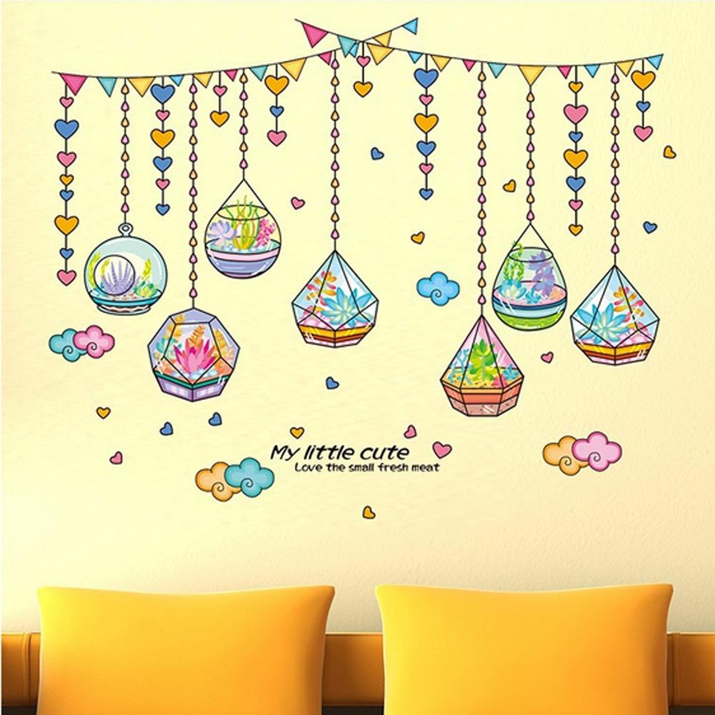Crystal Botol Bentuk Hati Wall Decal Sticker Rumah PVC Mural Vinyl Kertas Rumah Dekorasi Wallpaper Ruang Tamu Kamar Tidur Dapur Art Gambar DIY untuk Anak Remaja Remaja Dewasa Anak-Intl