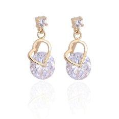 CTO Fashion Jewelry 18 K Berlapis Emas Anting Tindik Telinga dengan Murni Putih Zircon