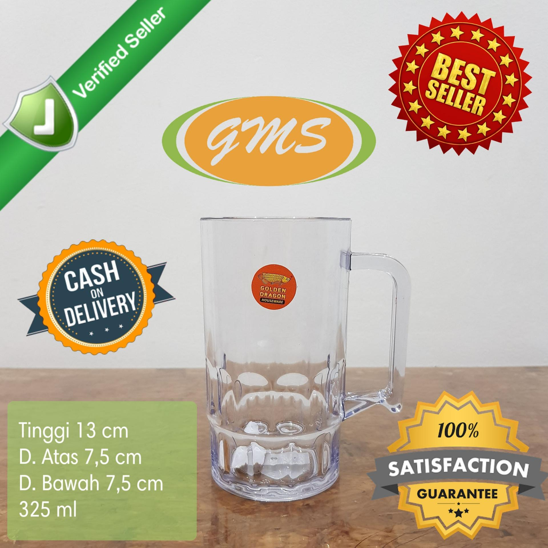 [6 Pcs] Gelas Teh / Gelas Kopi Gagang Plastik 325 Ml San Food Grade Golden Dragon 853 By Gms Plasticware.