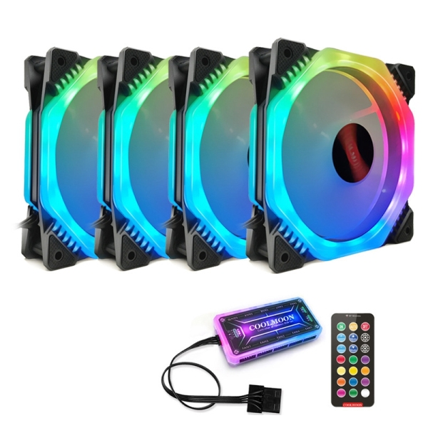 COOLMOON Computer Case PC Cooling Fan RGB Adjust 120mm Quiet+IR Remote Computer Cooler RGB CPU Case Fan Four in One