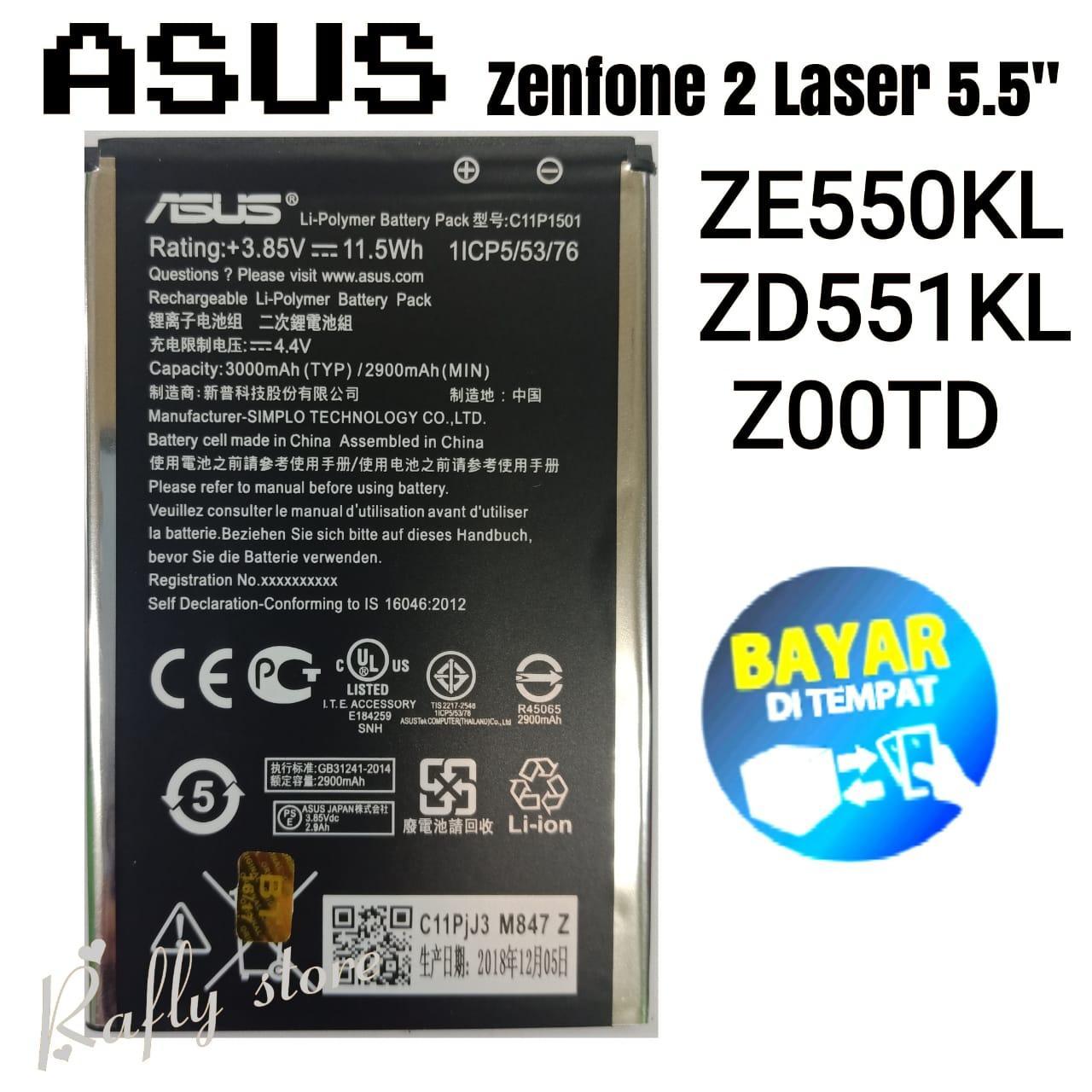 A/R; Batrai ASUS ZENFONE 2 LASER 5.5 Inch (C11P1501) Baterai Handphone Batre Android Battery ASUS ZENFONE 2 LASER 5.5 Inch ZE550KL (1ICP5/53/76) 3000mAh / Angga/Rafly Aksesoris