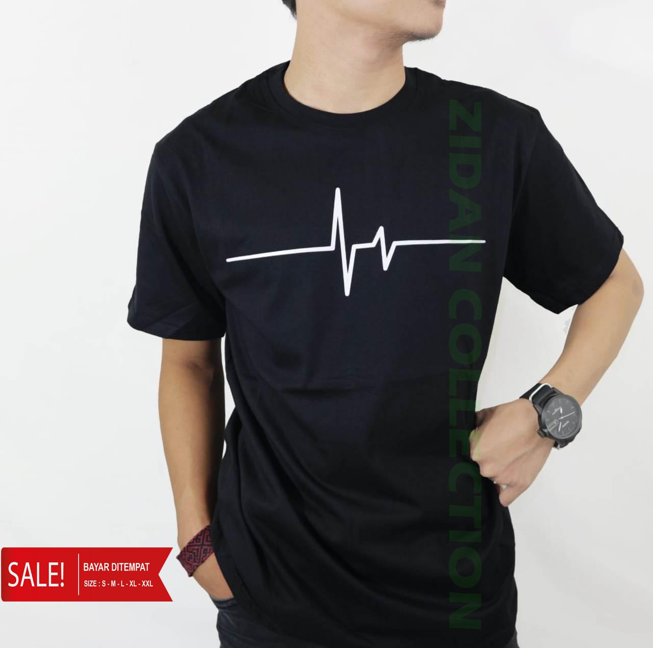 ZIDAN - Kaos Pria Distro DETAK JANTUNG T-shirt fashion 100% soft cotton  combed 275852b044