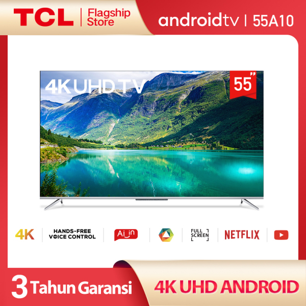 TCL 55 inch Smart LED TV - Android 9.0 - 4K Ultra HD - Hands-Free Voice Control - Google Voice/Netflix/YouTube - WiFi/HDMI/USB/Bluetooth Dolby Sound (Model : 55A10)