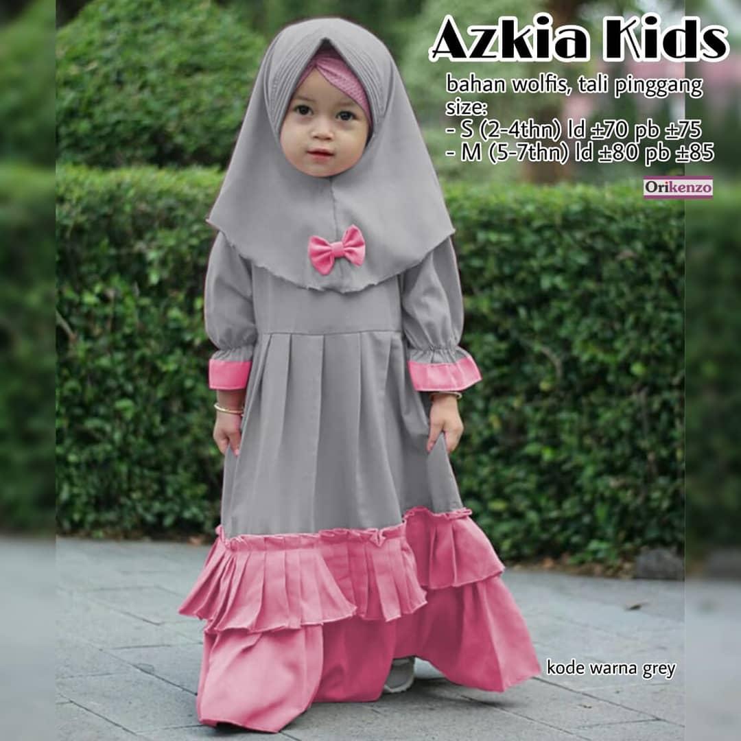 Azkia Kids Usia 8 - 8 Tahun FREE HIJAB / Baju Muslim Anak Perempuan / Gamis  Anak Perempuan Syari