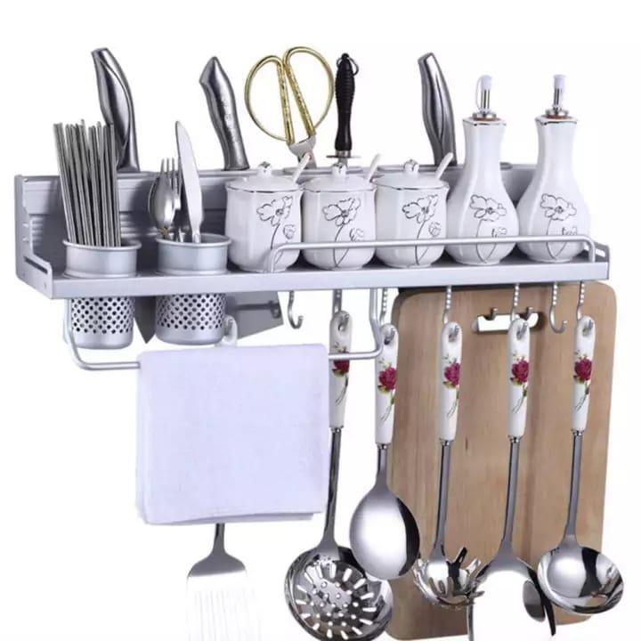 Rak Dinding Dapur Alumunium / Rak Penyimpan Alat Dapur Size 58 X 10 X 12.5 Cm By Toko Grosir99.