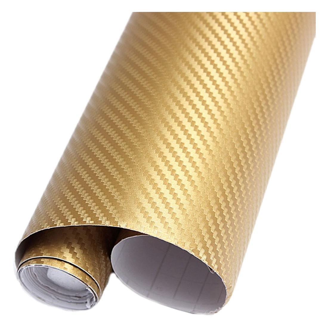 30cm x 127cm 3D Auto interior or exterior Gold DIY carbon fiber Vinyl Sticker