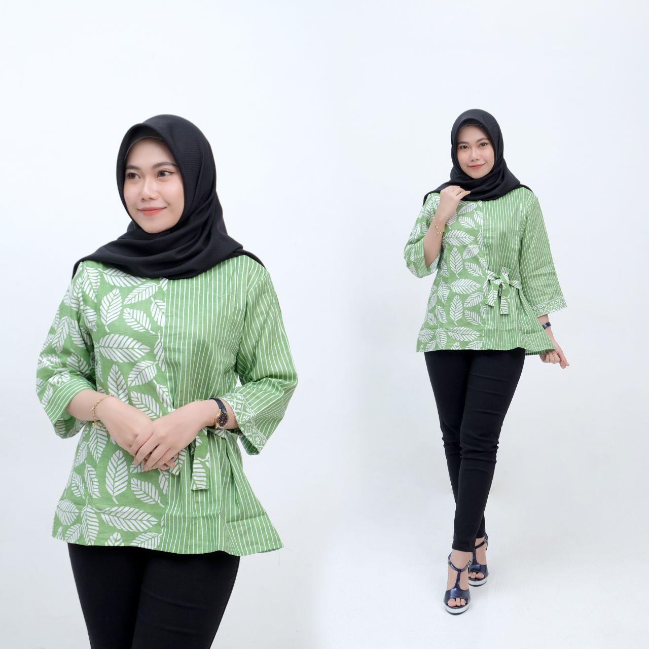Baju Batik Wanita Atasan Blus Batik Pekalongan Murah Kemeja Lengan 11/11 Tali  Samping Motif Blues Soft