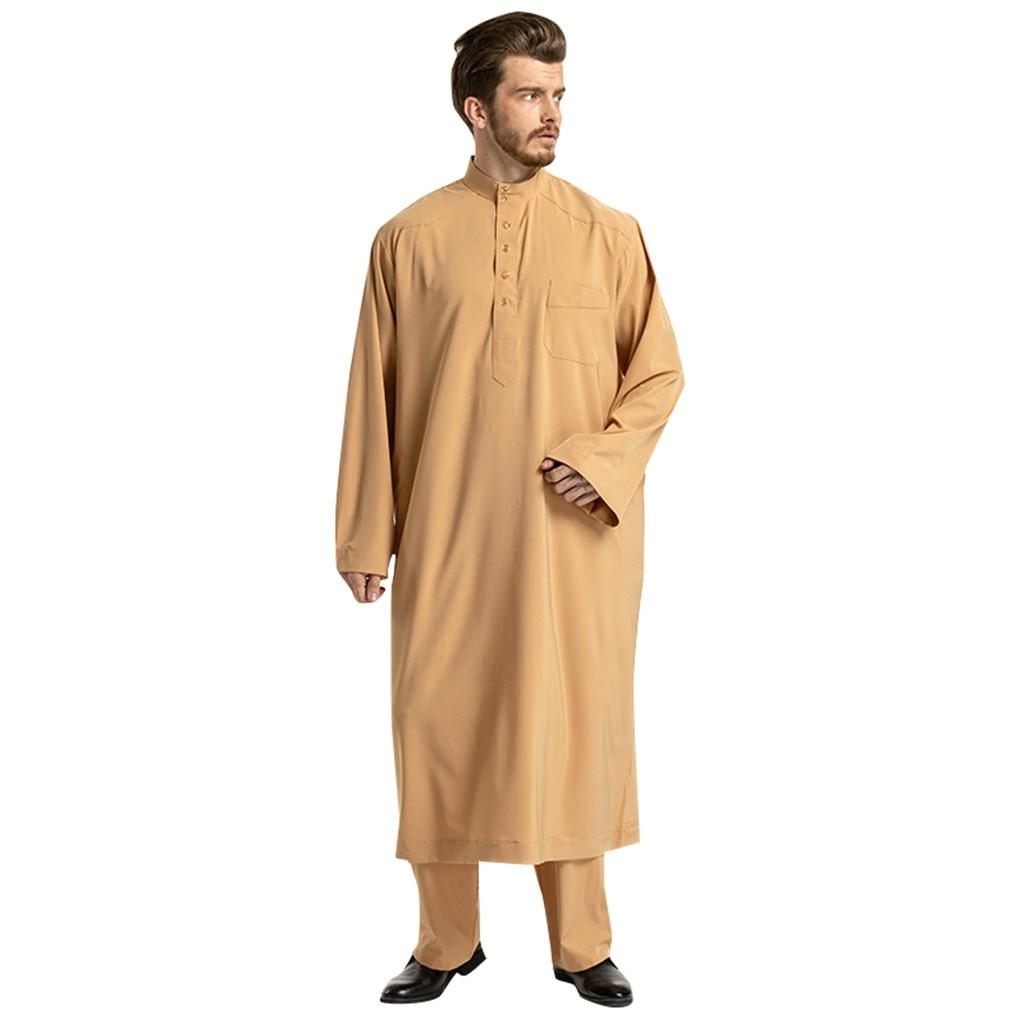 65e328a886a1 Lemon Shop Men Ethnic Long Sleeve Islamic Muslim Middle East Maxi Robes  Pants Suite Kaftan