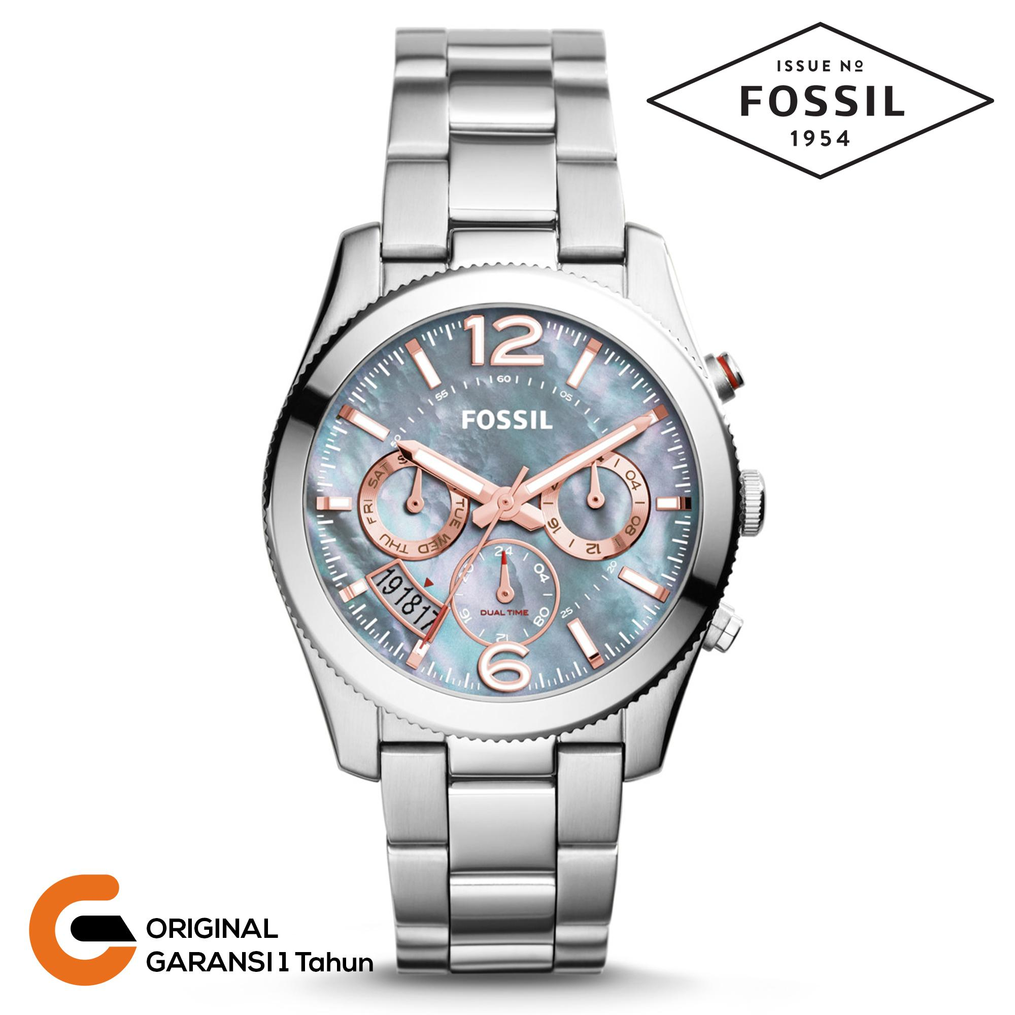 Fossil Jam Wanita Chronograph Tali Rantai Stainless Steel Quartz Multifunction Perfect Collection O